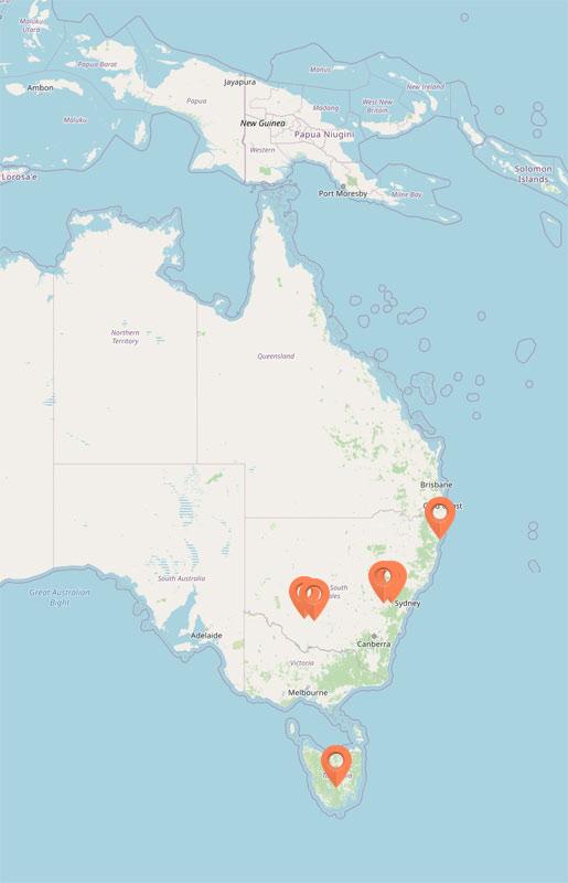Map - Birdsong of the Australian Bush